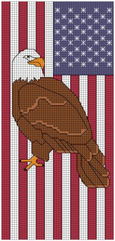 Patriotic Eagle Bookmark cross stitch pattern by AnsleyCollinsDesigns on Etsy Cross Stitch Bookmarks, Cross Stitch Books, Cross Stitch Animals, Cross Stitch Charts, Cross Stitch Patterns, Plastic Canvas Crafts, Plastic Canvas Patterns, Cross Stitching, Cross Stitch Embroidery