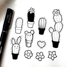 holly-astral:Doodling some eeny weeny cactus dudes
