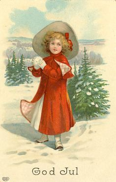 A Merry Christmas to you, c. Is this little girl in the middle of a snowball fight? Vintage Christmas Images, Victorian Christmas, Retro Christmas, Christmas Pictures, Christmas Art, Vintage Greeting Cards, Vintage Postcards, Scandinavian Christmas, Swedish Christmas