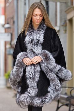 Cheri Peruvian Alpaca Wool Cape with Silver Fox Fur Trim by Overland Sheepskin Co. (style 32429)