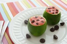 """Fun Little """"Watermelon"""" Desserts {lime stuffed with sherbet} 
