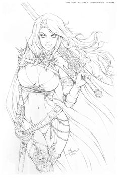 Pencils of Lady Death Phoenix Comic Con 2014 Cover by Dawn McTeigue