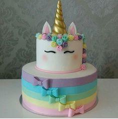 Matcha tea and nettle cake - HQ Recipes Unicorn Themed Birthday, Birthday Cake, Unicorn Party, Fondant Cakes, Cupcake Cakes, Bolo Fack, Pinterest Cake, Unicorn Cupcakes, Girl Cakes