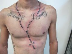 Rosary Tattoos On Chest