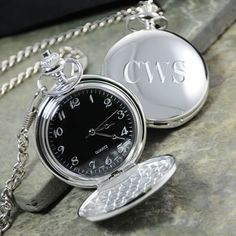 Groomsman Gift - Black Face Silver-Plated Pocket Watch