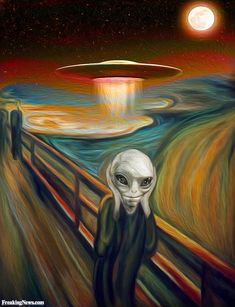 Alien in the Scream Painting by Munch