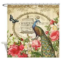 CafePress - Vintage French Peacock and roses Shower Curtain - Decorative Fabric Shower Curtain