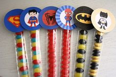 Superhero Party Favours by Sweet & Snazzy - Batman / Superman / Spiderman.   Make your own - by Sweet & Snazzy.  Feel free to visit us at www.facebook.com/sweetandsnazzy