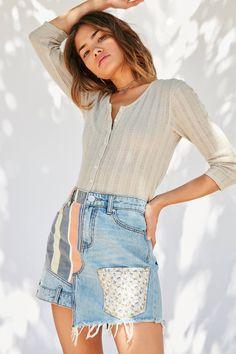 Slide View: 5: BDG Denim Patchwork Mini Skirt