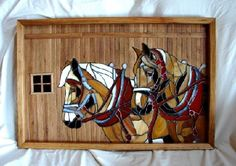 """"""" Skidder and Wedge"""" The horses in the piece are made of various colors of stained glass, attached to a 1/4"""" birch board.  The background and frame are made of extinct American Chestnut salvaged from a barn."""