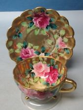 Antique Nippon Hand Painted Roses and Gilt Cup and Saucer