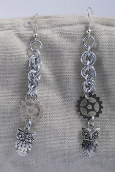 Steampunk Chainmaille Owl Earrings / Steampunk Owl by ChainPunk