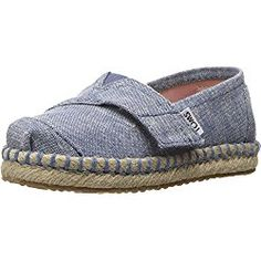 TOMS Kids Baby Girl's Platforn Alpargata Espadrille (Toddler/Little Kid) Blue Slub Chambray Loafer
