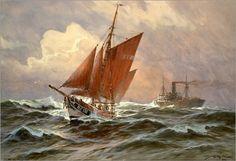 Willy Stöwer - Segler und Dampfschiff auf der Nordsee