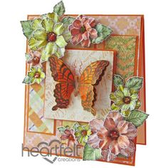 Gallery | Orange Butterfly And Blooms - Heartfelt Creations