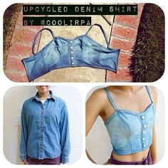 Crop tops have been one of my favorite trends for some time now. They are fun to… Crop tops have been one of my favorite trends for some time now. They are fun to … – Upcycled Clothes Refashioning Denim Crop Top, Crop Tops, Chambray Shirts, Cropped Shirt, Cropped Top, Diy Clothes Refashion, Diy Clothing, Sewing Clothes, Revamp Clothes