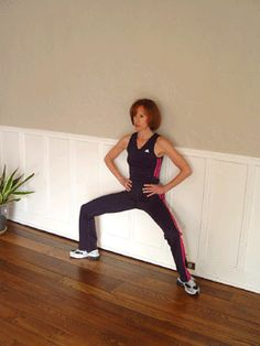 Wide Leg Wall Sit with Calf Raises Exercise~Muscles Worked: Quads, Glutes, Inner thigh, Calves. A great lower body workout that you can do anywhere in a short period of time and see results.
