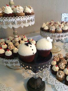 Bride & Groom cupcakes. #yellowleaf #seattle