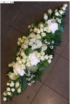Sympathy flowers or low table arrangement. Church Flowers, Funeral Flowers, Wedding Flowers, Wedding Bouquet, Funeral Floral Arrangements, Large Flower Arrangements, Christmas Arrangements, Ikebana, Casket Flowers