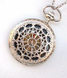 nice Steampunk WEB OF LOVE Pocket Watch Black Face Mechanical Necklace
