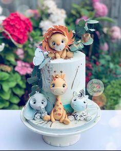 Safari Birthday Cakes, Baby First Birthday Cake, Safari Cakes, Zebra Birthday, Zoo Cake, Jungle Cake, Jungle Theme, Baby Boy Cakes, Girl Cakes