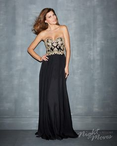 Black/Gold Bodice with black chiffon skirt and cutout back Prom dress By Night Moves by Allure