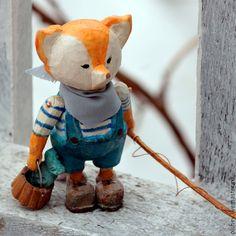 Коллекционные куклы ручной работы. Ярмарка Мастеров - ручная работа. Купить лисенок рыбак. Handmade. Оранжевый, дерево