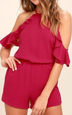 4248baaacc2 Palpitate Berry Pink Off The Shoulder Romper