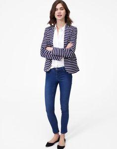 Mollie Hope Stripe French Navy Soft Jersey Blazer | Joules US