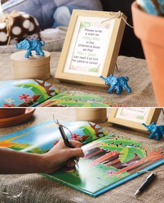 "I did this at my shower! -Shiree  Getting a children's book to match any themed shower and having it be your sign in book is a great idea! ~ The Children's book Rumble in the Jungle used as the ""guest book"" (great keepsake!)"