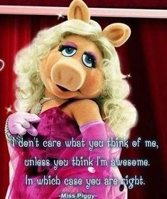 Miss Piggy, I don't care what you think of me unless you think I'm awesome. In which case, you are right. Miss Piggy Meme, Miss Piggy Quotes, Think Of Me, What You Think, Cat Body, Feminist Icons, My Idol, Thinking Of You, Teddy Bear
