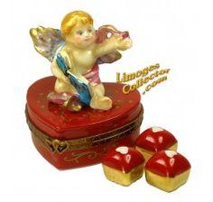 Cupid Cherub on Red Heart w/ Candies Limoges Box (Beauchamp)