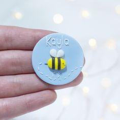 Nurse Name Badge - Bee Nurse Name Badge, Buzzy Bee, Name Badges, Air Dry Clay, Clay Crafts, Colorful Pictures, Colorful Backgrounds, Bunny, Handmade