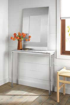 Room & Board - Manhattan Modern Mirrors in Stainless Steel - Mirrors - Modern Entryway Furniture Console Table Living Room, Ottoman In Living Room, Dining Table Legs, Modern Console Tables, Modern Dining Table, Entry Furniture, Royal Furniture, Bedroom Furniture Sets, Custom Furniture