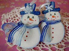 Hand Painted Snowman Ornaments Snowflake Wood set by pinkrose1611, $13.00