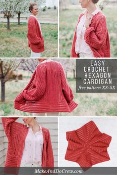 Two simple crochet hexagons transform into a lightweight, on-trend cardigan complete with cozy pockets and roomy bishop sleeves. This free, easy crochet sweater pattern and tutorial makes a great first garment for beginners and is perfect to wear in the spring or summer. via @makeanddocrew #makeanddocrew #crochet #freecrochetpattern #crochetsweater #crochetcardigan #hexagon #videotutorial #easy #bishopsleeves #spring #summer