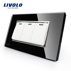 Livolo Manufacturer Luxury Black Crystal Glass Panel, 3 Gangs 2 Way, Push Button Switch, VL-C3K3S-82