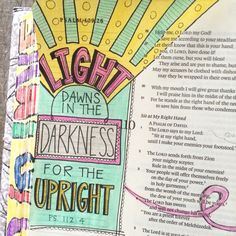 Bible journaling Psalms 109. Light dawns in the darkness.