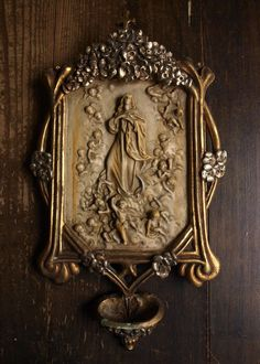Etsy のThe Immaculate Conception Angels w Crescent Moon Relief Holy Water Font Bénitier Spain Antique Religious Art Deco/484(ショップ名:GliciniaANTIC)