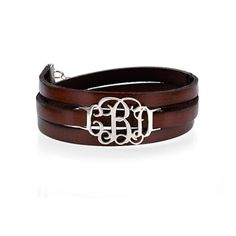 Can just imagine this with my boots and sweaters! Leather Wrap Monogram Bracelet-leather bracelet, monogram bracelet, silver monogram, monogram jewelry,