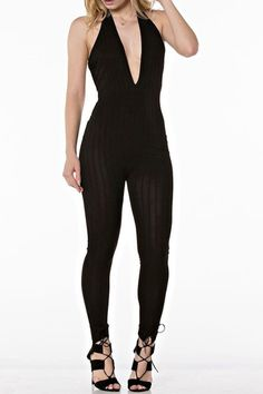 Our Deep plunge jumpsuit features a low back and super stretch fit for the perfect night out. This is a piece that will have every head turning twice. Halter Plunge neckline. Subtle stripes in the fabric.  Deep Plunge Jumpsuit by Hot & Delicious. Clothing - Jumpsuits & Rompers - Jumpsuits Philadelphia Pennsylvania