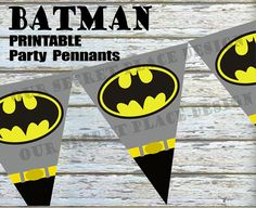 PRINTABLE Batman Superhero Birthday Party Pennant/Banner by OurSecretPlace…