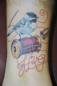 tattoo austin hub tattoo hubtattoo tattoo artist michael norris tattoo shop bird on spool of thread and thimble | Flickr - Photo Sharing!