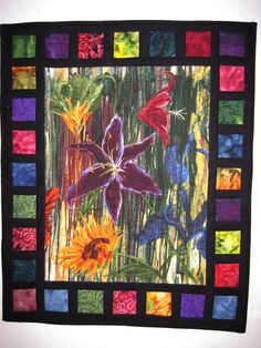 Quilted Wall Art Modern wall hanging Lilies by KellettKreations