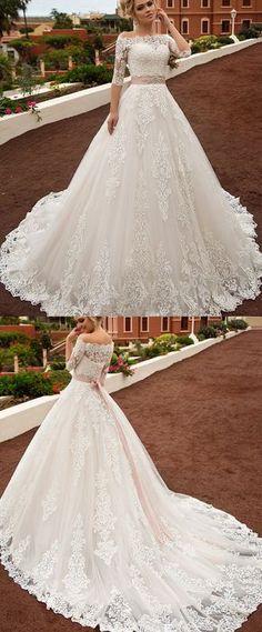Gorgeous Tulle & Organza Off-the-shoulder Neckline A-line Wedding Dress With Lace Appliques & Belt & Detachable Jacket