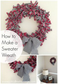 How to make a wreath by using old sweaters!! So easy!