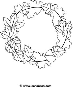Fall leaves coloring page, leaf wreath