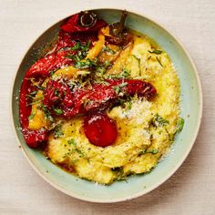 Yotam Ottolenghi's marinated peppers with fresh corn polenta and soy-cured yolk. Yotam Ottolenghi, Ottolenghi Recipes, Cooking For Three, Easy Cooking, Cooking Ideas, Veg Recipes, Vegetarian Recipes, Syrup Recipes, Bread Recipes