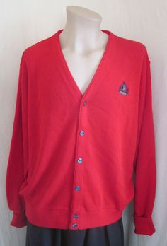 IZOD VINTAGE Red Logo Button Front Cardigan Golf Sweater XL XLarge Made in USA #Izod #Cardigan