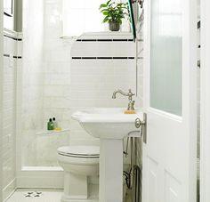 shower tile - black and white